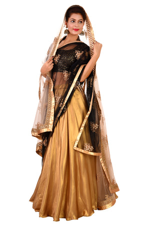 Black and Golden Designer Lehenga Featured in Net and Georgette
