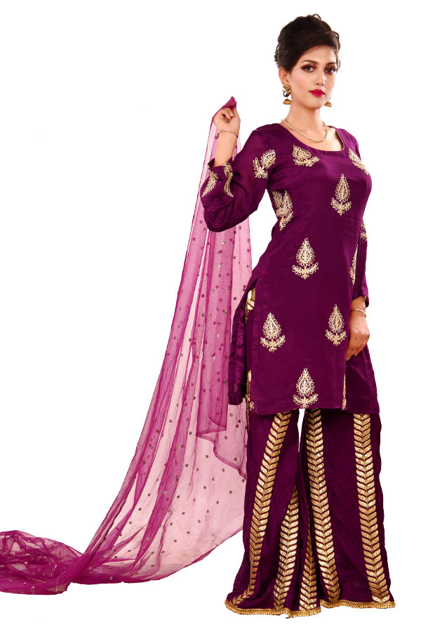 Purple Crepe and Net Sharara Style Salwar kameez