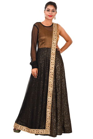 Black and Golden Party Style Gown