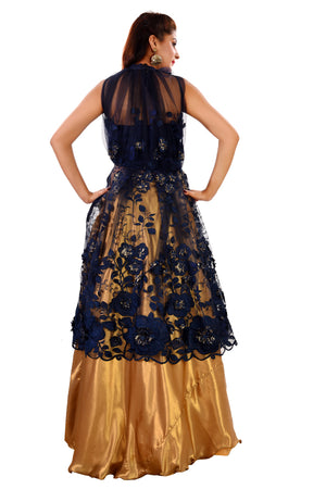 Navy blue and Gold  Crop Top Style Lehenga Featured in Georgette and Net