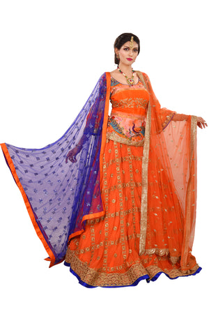 Blue and Orange Designer Lehenga done in Crepe and Tissue