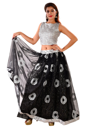 Black and Silver Crop Top Style Lehenga Featured in Georgette and Net