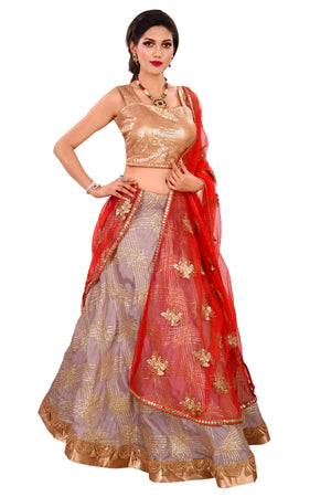 Red and Mauve Designer Lehenga embellished with gota patti and Sequin