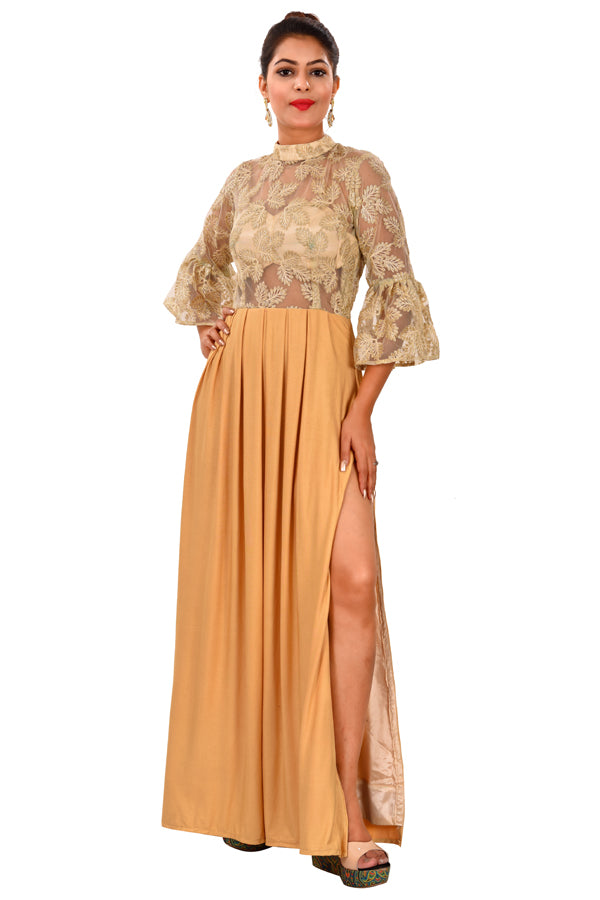 Peach Indo-western Style Gown
