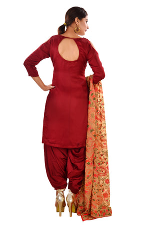 Peach and Maroon Straight cut Style Salwar Kameez Featured in Georgette and Cotton Silk