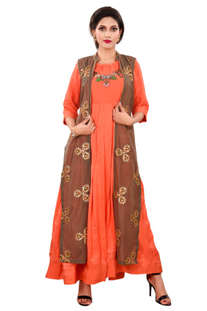 Pink designer Salwar Kameez Featured in Silk and Chanderi Fabrics with Brown Accents