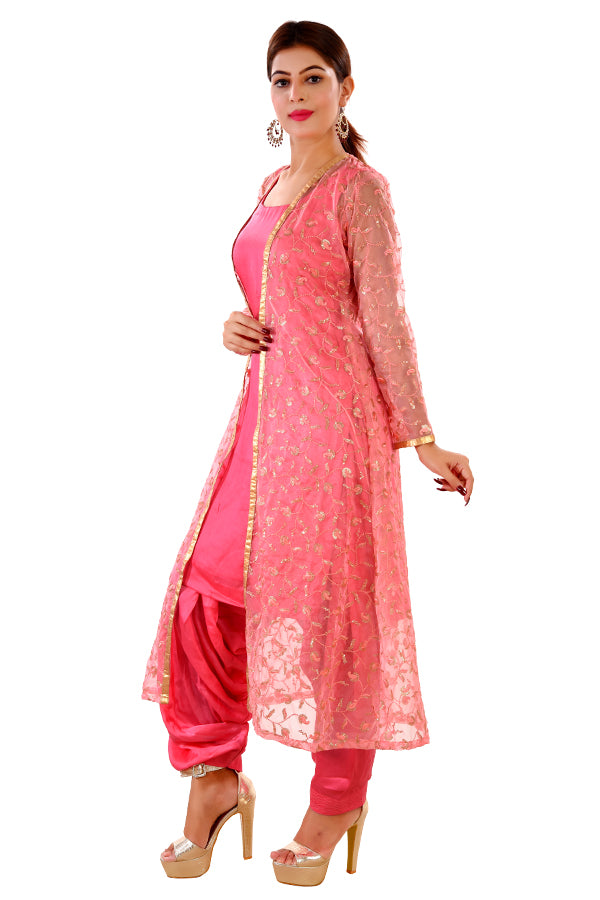 Pink Straight Cut Style Salwar Kameez Featured in Cotton Silk and Net