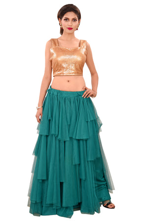 Crop top Lehenga featured in Light green and Pink Net