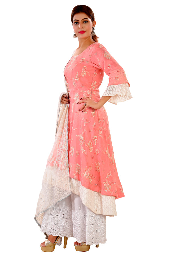 Off White and Pink Palazzo Style Salwar Kameez Featured in Chiffon and Georgette