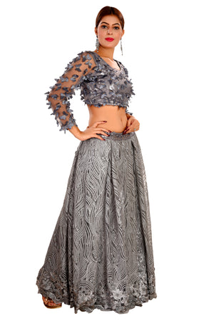 Grey Crop Top Style Lehenga Featured in Net and Georgette