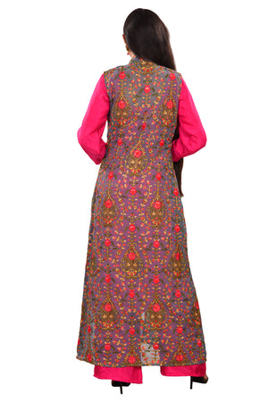 Magenta and Grey Salwar Kameez Featured in Silk and Georgette