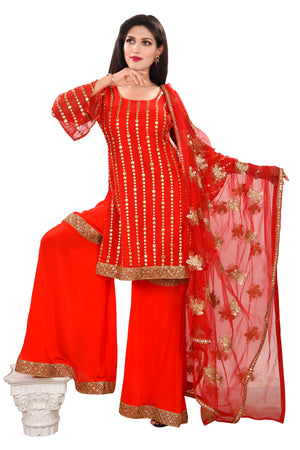 Red Crepe and Georgette Sharara style Salwar kameez with Net Accent