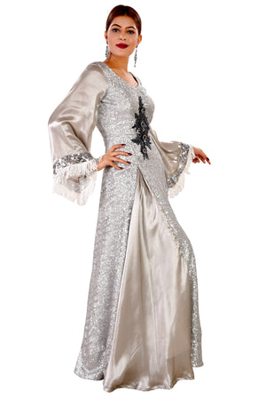 Silver Evening Style Gown Featured in Georgette
