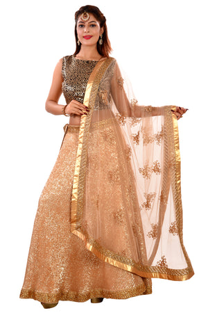 Black and Gold Designer Lehenga Featured in Net and Georgette