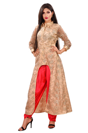 Peach and Magenta Colored Salwar Kameez Featured in Net and Georgette