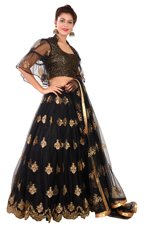Black Designer Lehenga Featured in Net