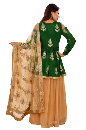 Green and Gold Sharara Style Salwar Kameez