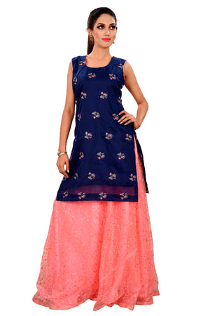 Designer Salwar Kameez Featured in Navy Blue and Pink Chanderi with Net Accents