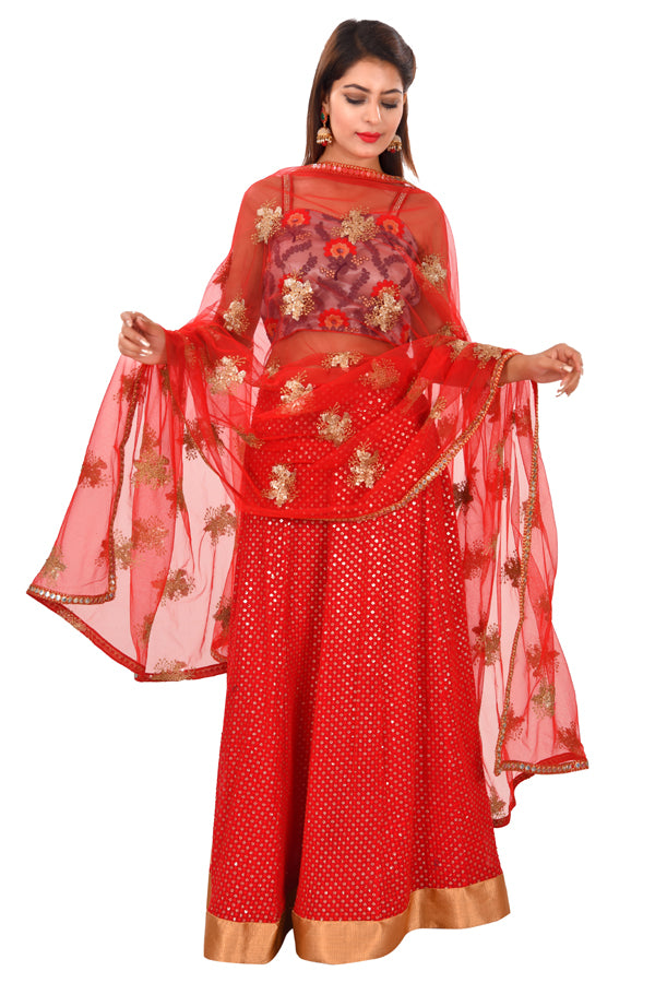 Red and Grey Designer Style Lehenga