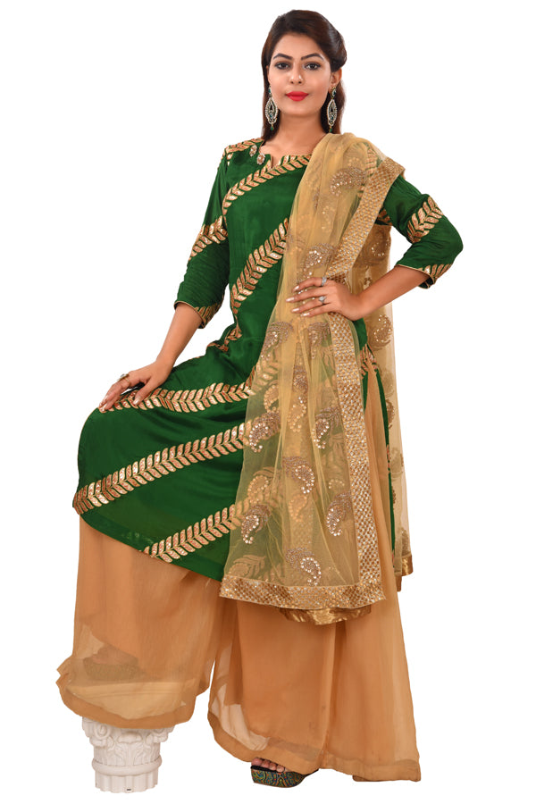 Green and Golden Sharara Salwar Kameez