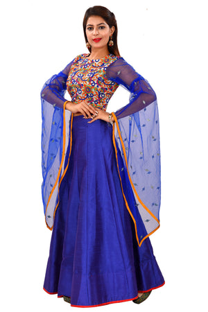 Royal Blue and White Crop top Style Lehenga