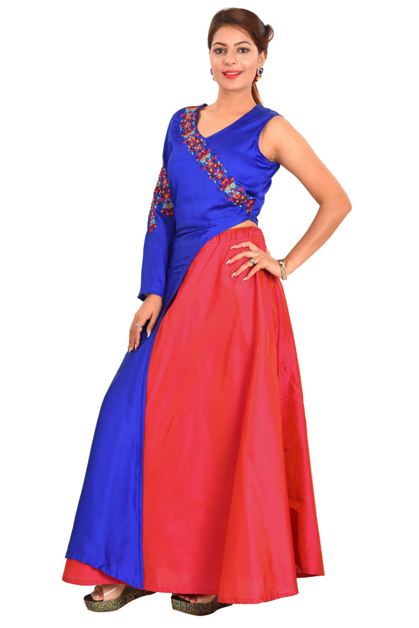 Royal Blue and Red Designer Salwar Kameez