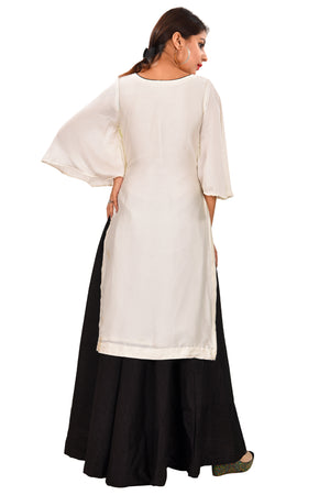 Off White and Black Silk Salwar Kameez