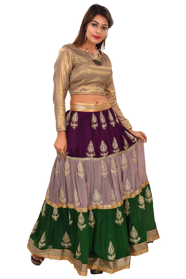 Multi-colored Crop top style Lehenga