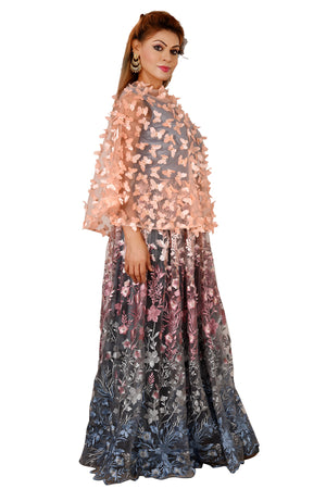 Grey and Peach Indo Western Style Gown Featured in Lycra and Net