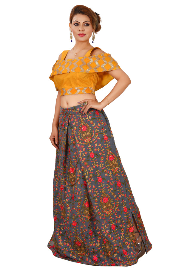 Crop Top Style Lehenga Featured in yellow and Grey Georgette