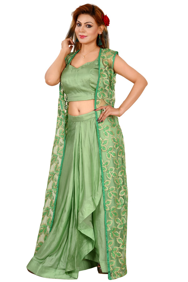 Light Green Crop Top Style Lehenga Featured in Cotton Silk and Net