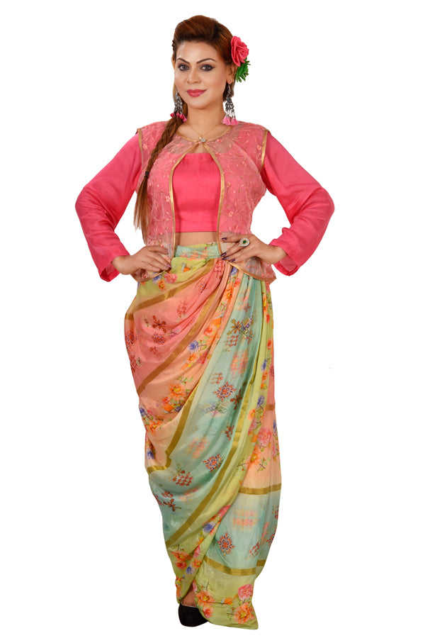 98a5841cc6c54d Crop Top Style Lehenga Featured in Cotton Silk and Net done in different  shades of Pink