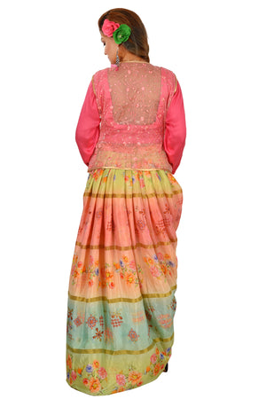 Crop Top Style Lehenga Featured in Cotton Silk and Net done in different shades of Pink