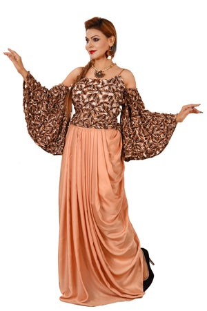 Peach and Brown Crop Top style Lehenga Featured in Cotton and Crepe