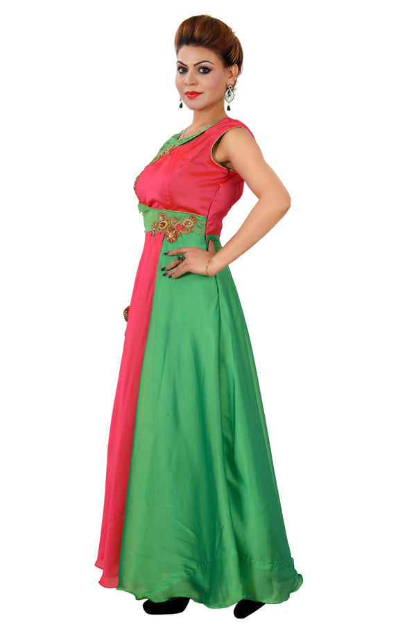 Magenta and Green Designer Salwar Kameez Featured in Georgette and Crepe