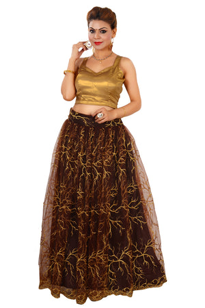 Golden and Brown Crop Top Style Lehenga Featured in Georgette and Net
