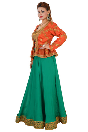 Multi Colored Crop Top Style Lehenga Featured in Crepe and Georgette