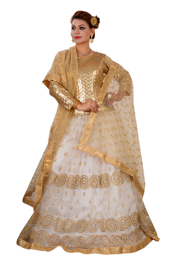 8480f2286f61 White and Golden Crop Top Style Lehenga Featured in Net - Sohni Sajri