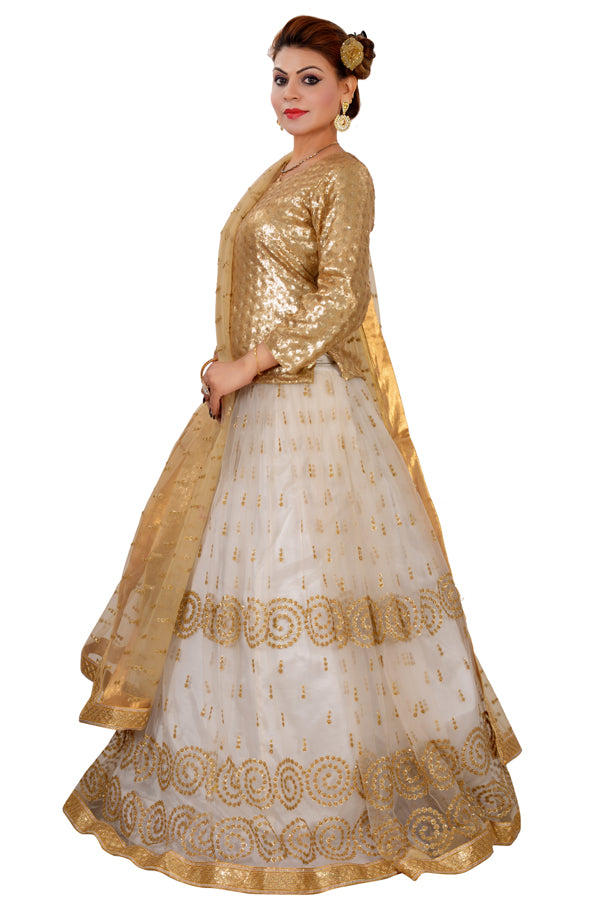 White and Golden Crop Top Style Lehenga Featured in Net