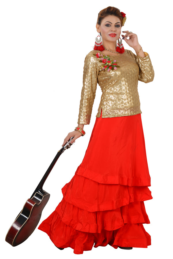 Red and Golden Crop Style Lehenga Featured in Crepe and Net