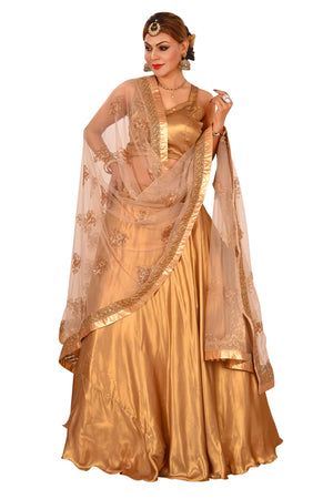Copper and Golden Designer Lehenga Featured in Georgette and Net