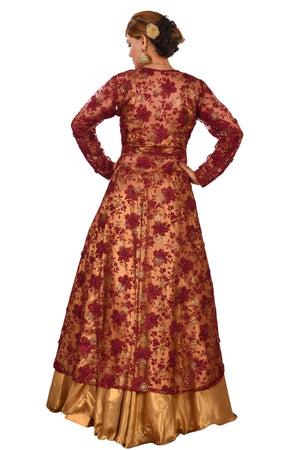 Golden and Maroon Designer Salwar Kameez