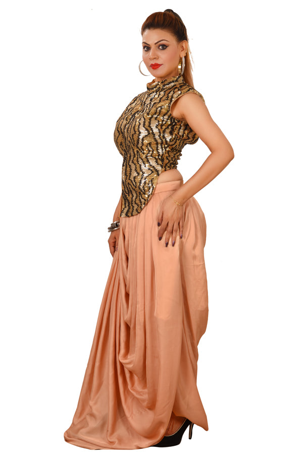 Tiger Print Crop Top Style Lehenga Featured in Geeorgette and Crepe Silk