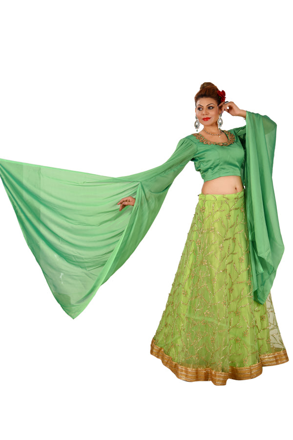 Crop Top Style Lehenga Featured in Crepe and Tissue done in different shades of green