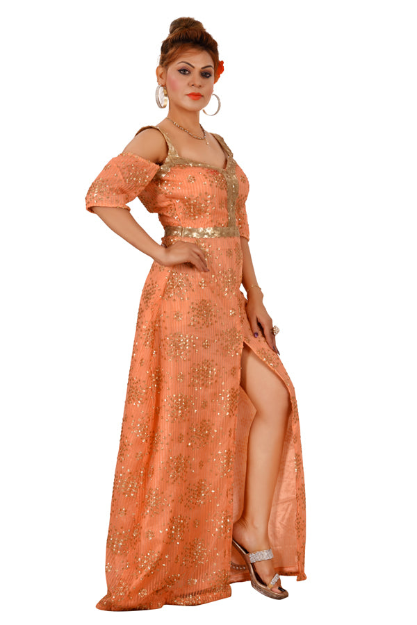 Golden and Peach Evening Style Gown Featured in Net - Sohni Sajri