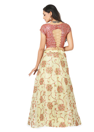 Red and light green lehenga featured in georgette and tissue silk