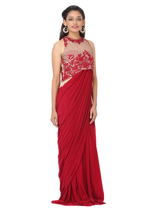 Maroon and Peach gown embellished with Stone and Beads
