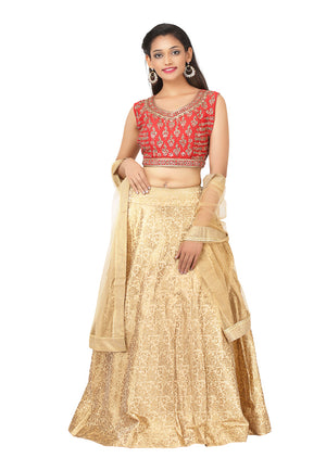 Red and gold lehenga featured silk and brocade with net dupatta