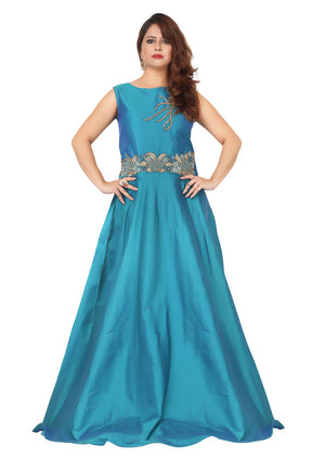 Turquoise evening gown featured in Taffeta