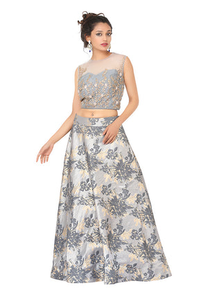 Blue and silver Lehenga Featured in silk and net